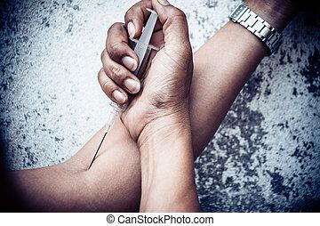 婦女, 影響, 藥物, 注射器, 有砂, 迷戀者, 數字, 行動