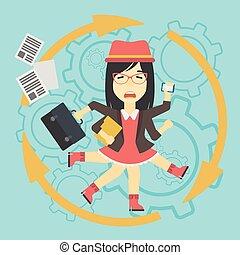 婦女, 應付, multitasking., 事務
