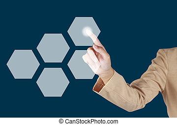 婦女, 手指, 按鈕, 上, 實際上, 屏幕