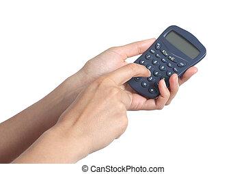 婦女, 手, 使用, a, 計算器