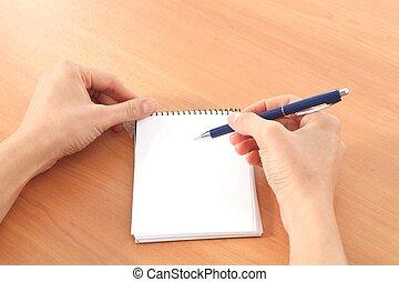 婦女, 手, 寫, 在, a, 筆記本