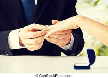 婦女, 手, 放, 結婚戒指, 人