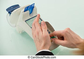 婦女, 手, 機器, 信用, 使用, 卡片