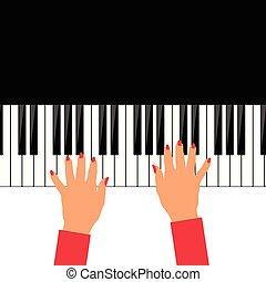 婦女, 手, 鋼琴, 插圖