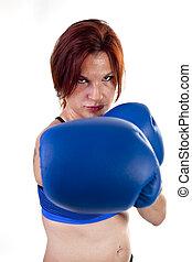 婦女, 拳擊手, 在上打孔