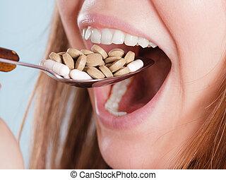 婦女, 拿, 吃, 藥丸, tablets., 藥物, addict.