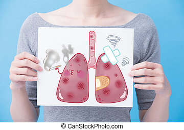 婦女, 拿, unhealth, 肺, 廣告欄