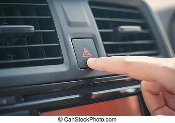 婦女, 按壓, 手指, 緊急事件, button.