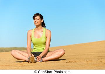 婦女, 放鬆, 以及, 瑜伽, 練習, 上, 夏天