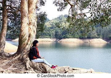 婦女, 放鬆, 認為, 感受, 戶外, 亞洲人