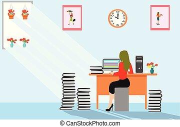 婦女, 文書工作, 事務, 工作, 鐘, 太陽屏幕, 在那裡, 在。, 背景。, 牆壁, 電腦, 簽, 辦公室。, 圖片, 發光