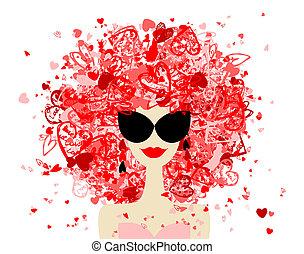 婦女, 時裝, 你, 肖像, 設計