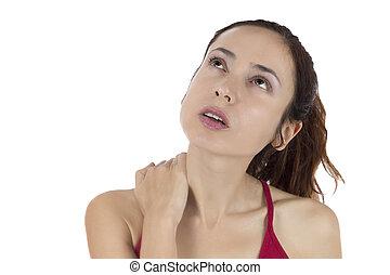婦女, 有, a, 緊張, 脖子