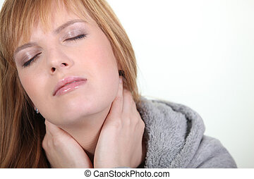 婦女, 有, a, 脖子, 疼痛