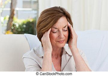 婦女, 有, a, 頭疼