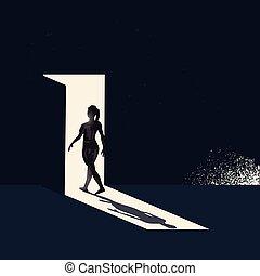 婦女, 步行, 透過, a, 打開門