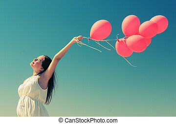 婦女, 气球, 年輕, 藏品, 紅色