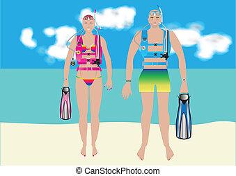 婦女, 水下呼吸器潛水員