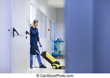 婦女, 洗滌, 工作, 地板, 空間, 少女, 機械, 充分, 清掃, 長度, 工業, 專業人員, 模仿, 建筑物。
