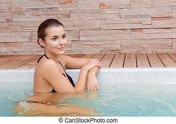 婦女, 洗澡, 在, 游泳池