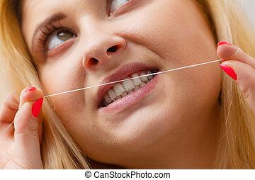 婦女, 清掃, 她, 牙齒, 使用, 牙齒的亂絲