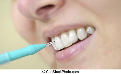 婦女, 清掃, 她, 牙齒