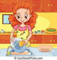 婦女, 清掃, 盤, 廚房