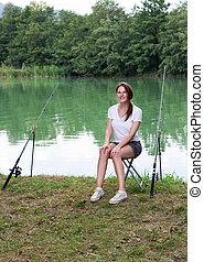 婦女, 湖捕魚