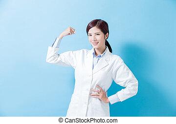 婦女, 牙醫, 給予, 強有力, 手臂