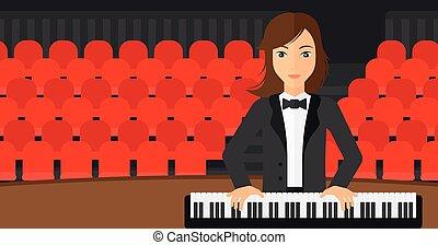 婦女, 玩, piano.