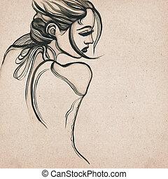 婦女, 現代, 美麗, 圖畫
