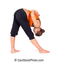 婦女, 瑜伽, 伸展, 強烈, 邊, 練習