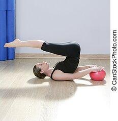 婦女, 瑜伽, 體操, 球, 穩定, pilates, 健身
