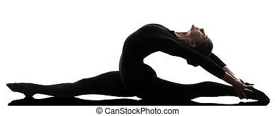 婦女, 瑜伽, 體操, 行使, 黑色半面畫像, contortionist