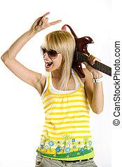 婦女, 由于, 吉他, 上, 肩