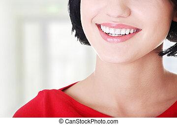 婦女, 由于, 她, 完美, 直接, 白色, teeth.
