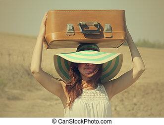 婦女, 由于, 小提箱