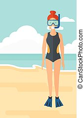 婦女, 由于, 游泳, equipment.
