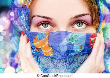 婦女, 由于, 美麗的眼睛, 以及, 鮮艷, 圍巾