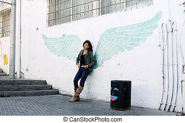 婦女, 由于, 翅膀