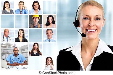 婦女, 由于, 耳機, 以及, 工人, 臉, collage.