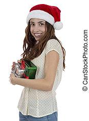 婦女, 由于, 聖誕老人帽子, 舉行, 她, 禮物