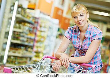 婦女, 由于, 購物車