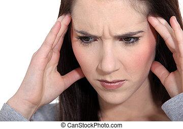 婦女, 由于, a, 頭疼