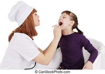 婦女, 病人, 醫生, 檢查, 年輕, 咽喉, 女孩