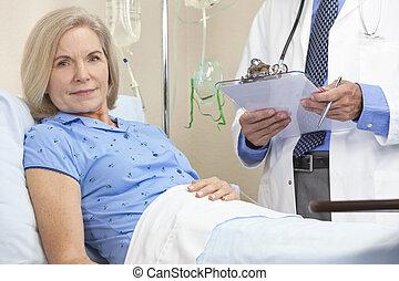 婦女, 病人, 醫院床, 女性, 年長者