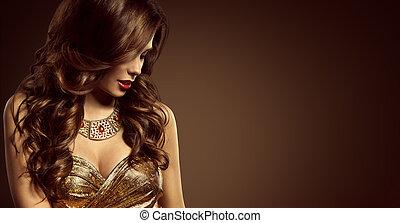 婦女, 發型, 美麗, 時髦模型, 長的 棕色 頭髮, 風格, 女孩, 在, 雅致, 衣服