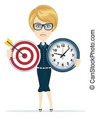 婦女, 目標, 事務, 鐘, 藏品, 時間