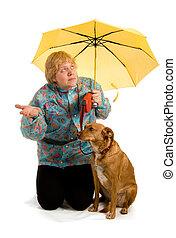 婦女, 看見, whether, 它, 下雨