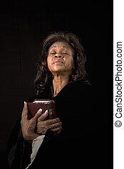 婦女, 眼睛關閉, 由于, 聖經
